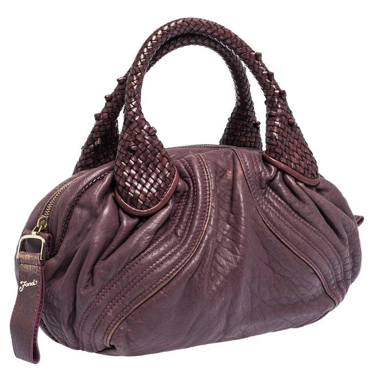 Fendi Purple Leather Mini Spy Hobo In Good Condition For Sale In Dubai, Al Qouz 2