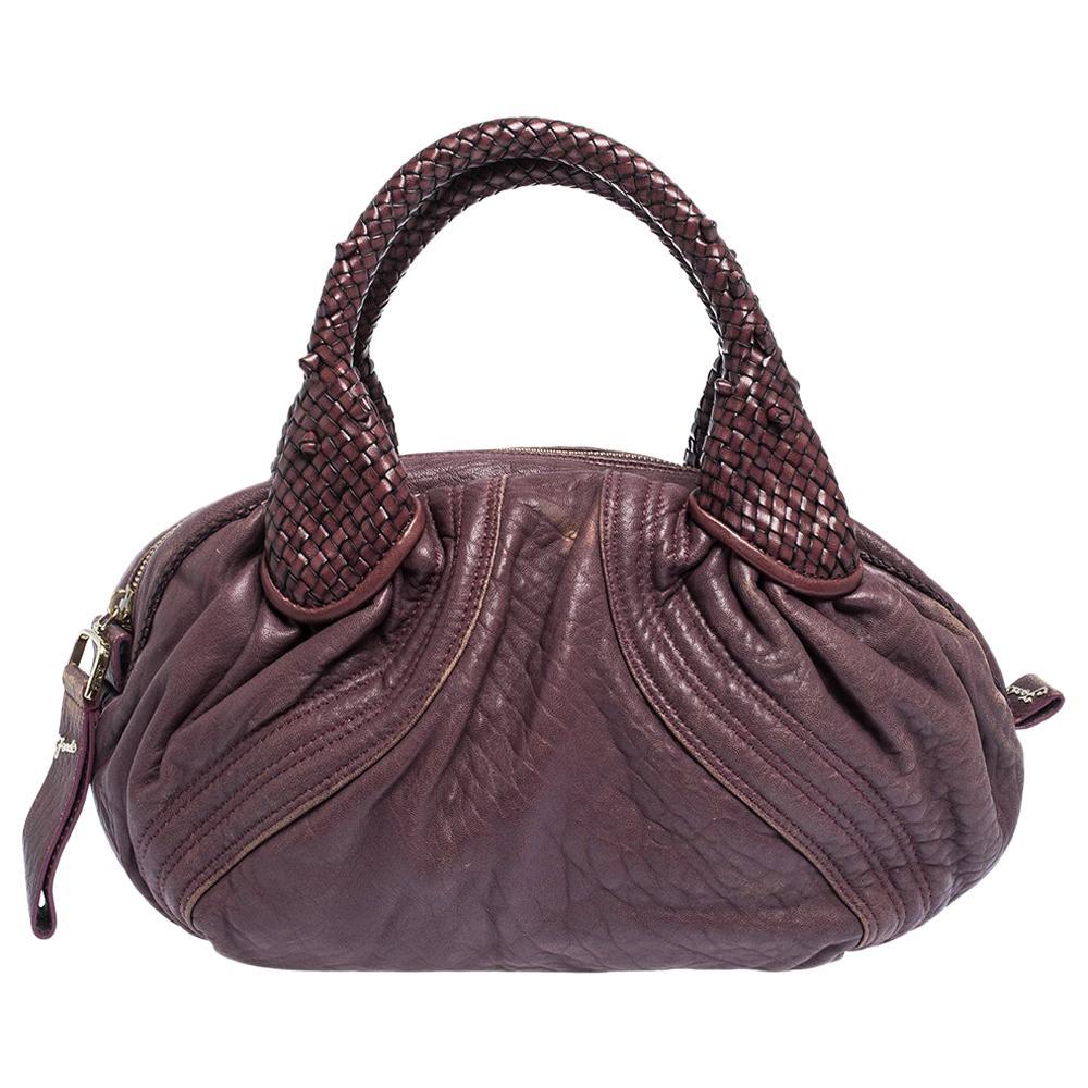 Fendi Purple Leather Mini Spy Hobo