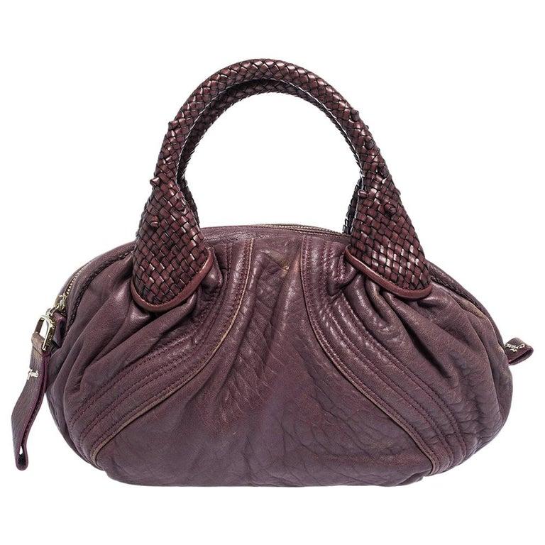 Fendi Purple Leather Mini Spy Hobo For Sale