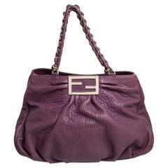 Fendi Purple Pebbled Leather Large Mia Shoulder Bag