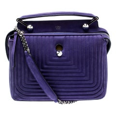 Fendi Purple Quilted Nubuck Leather Dotcom Click Shoulder Bag
