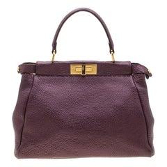 Fendi Purple Selleria Leather Medium Peekaboo Top Handle Bag