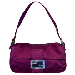 Fendi Purple Silk Baguette