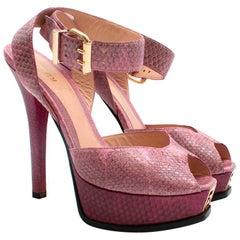 Fendi Purple Snakeskin Platform Sandals - Size UK4, US7.5, FR38.5