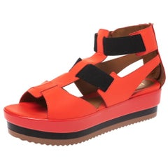 Fendi Red/Black Leather And Elastic Platform Wedge Sandals Size 37.5