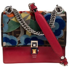 Fendi Red/Brown Floral Zucca Canvas and Leather Kan I Shoulder Bag