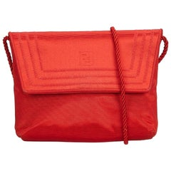 Fendi Red Canvas Fabric Crossbody Bag Italy