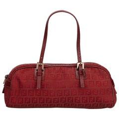 Fendi Red Canvas Fabric Zucchino Handbag Italy