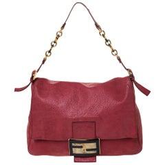 Fendi Red Iridescent Leather Mama Forever Large Flap Shoulder Bag