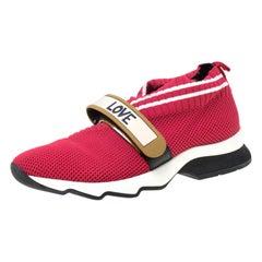 Fendi Red Knit Fabric Rockoko Sneakers Size 36