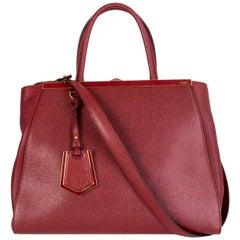 FENDI red leather 2JOURS MEDIUM ELITE TOTE Shoulder Bag