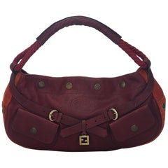 Fendi Red Leather and Suede FF Hobo Bag