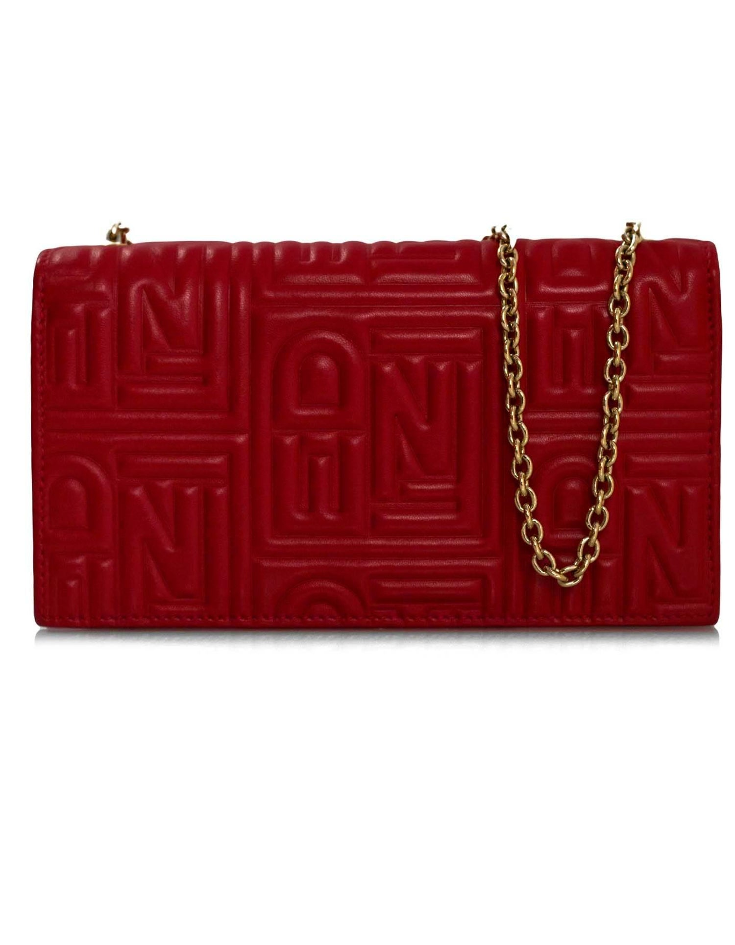 9fd2790417 Fendi Red Leather Embossed Logo Chain Wallet WOC Bag
