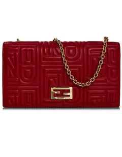 Fendi Red Leather Embossed Logo Chain Wallet WOC Bag