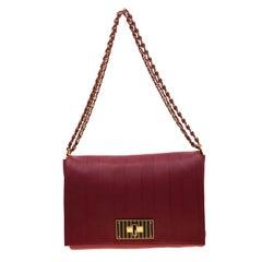 Fendi Red Leather Large Claudia Shoulder Bag