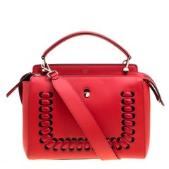 Fendi Red Leather Whipstitch Dotcom Top Handle Bag