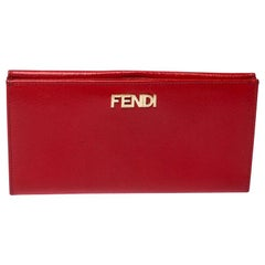 Fendi Red Patent Leather Flap Continental Wallet