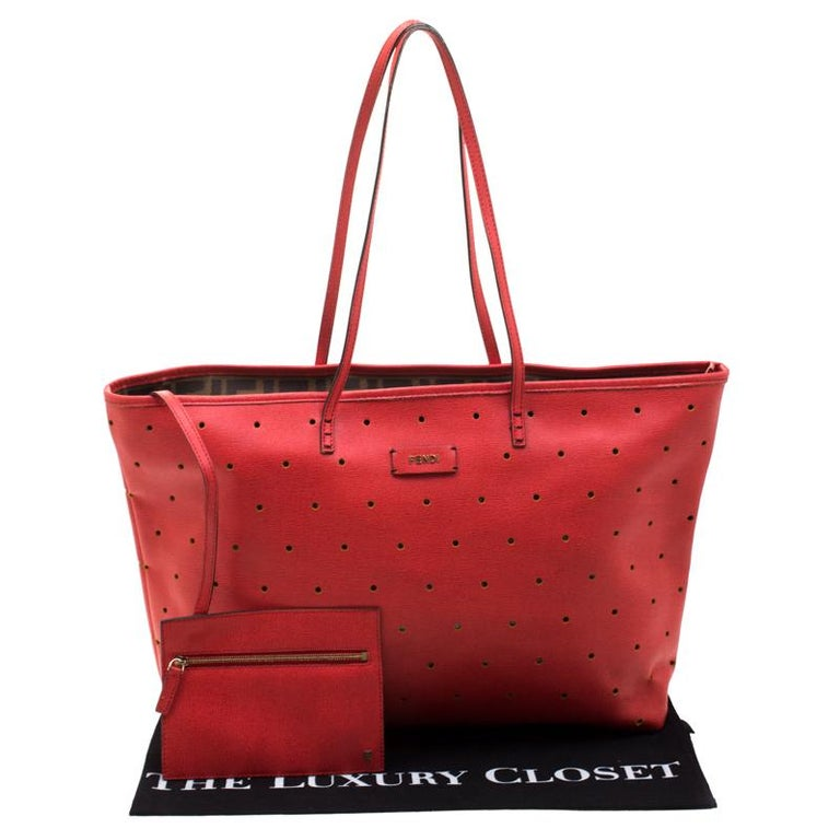 Fendi Red Perforated Leather Roll Tote W/ Pouch For Sale 8