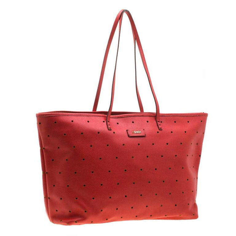 Women's Fendi Red Perforated Leather Roll Tote W/ Pouch For Sale