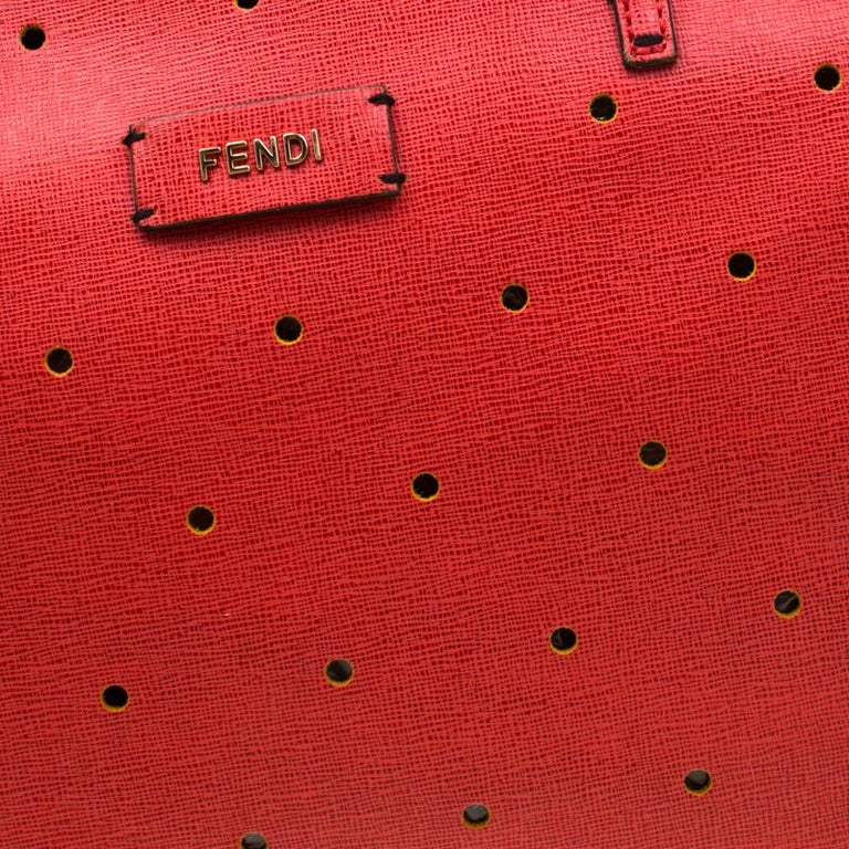 Fendi Red Perforated Leather Roll Tote W/ Pouch For Sale 5