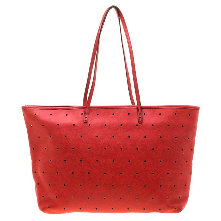 Fendi Red Perforated Leather Roll Tote W/ Pouch For Sale