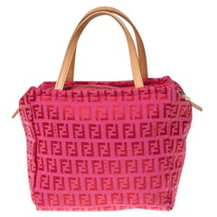 Fendi Red/Pink Zucchino Canvas Pochette