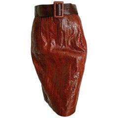 FENDI red python skin skirt with belt - Unworn, New