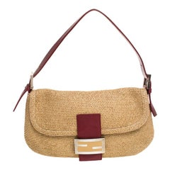 Fendi Red Raffia Small Baguette