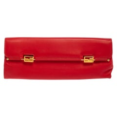Fendi Red Soft Leather Long Clutch