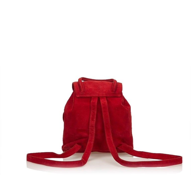 Fendi Red Suede Backpack In Good Condition For Sale In Orlando, FL