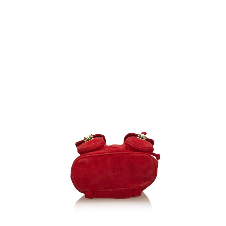 Women's or Men's Fendi Red Suede Backpack For Sale
