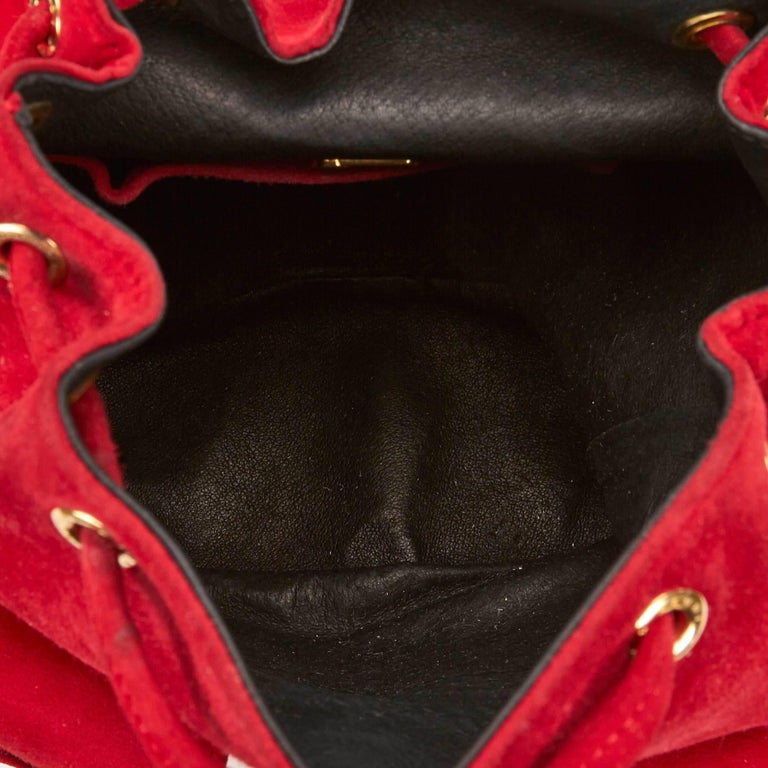 Fendi Red Suede Backpack For Sale 1