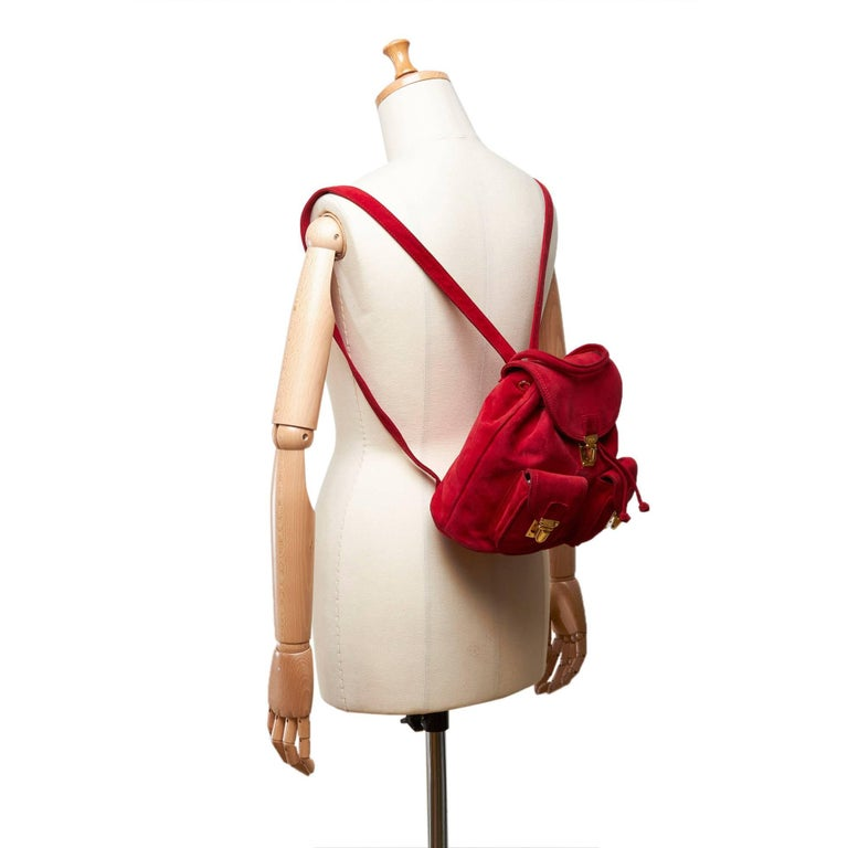 Fendi Red Suede Backpack For Sale 4