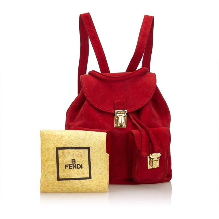 Fendi Red Suede Backpack For Sale 5