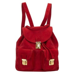 Fendi Red Suede Backpack
