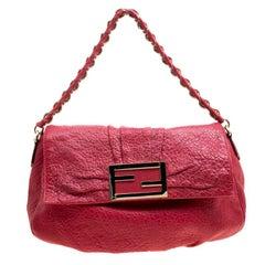 Fendi Red Textured Leather Mia Flap Shoulder Bag