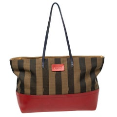 Fendi Red/Tobacco Pequin Striped Canvas and Leather Roll Tote