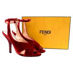 Fendi red velvet heeled ankle strap sandals 40