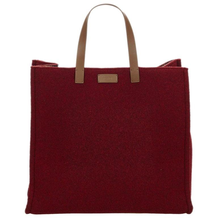 Fendi Red Wool Tote Bag
