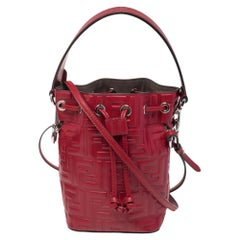 Fendi Red Zucca Leather Mini Mon Tresor Drawstring Bucket Bag