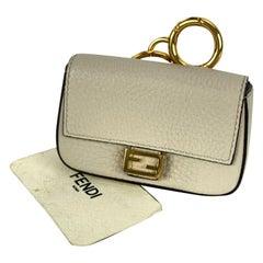 Fendi Roma Amor Off-White Latte Leather Nano Baguette Bag Charm