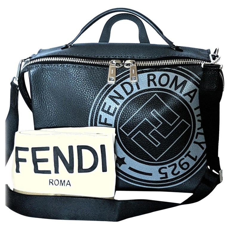 Fendi Roma Men's Logo Stamp 2-way Messenger Bag For Sale