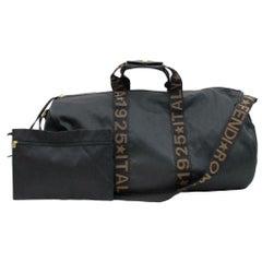 Fendi Roma Star Logo Boston Strap and Pouch 870316 Black Canvas Travel Bag