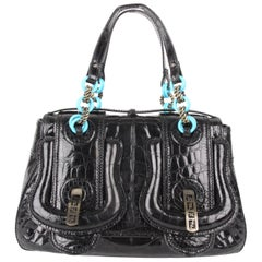 Fendi S/S 2006 Black  Leather B-Bag With Turquoise Chain Straps