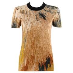 FENDI S/S 2013 Silk Cashmere Abstract Pixel Print Jersey Knit T-Shirt Top SS