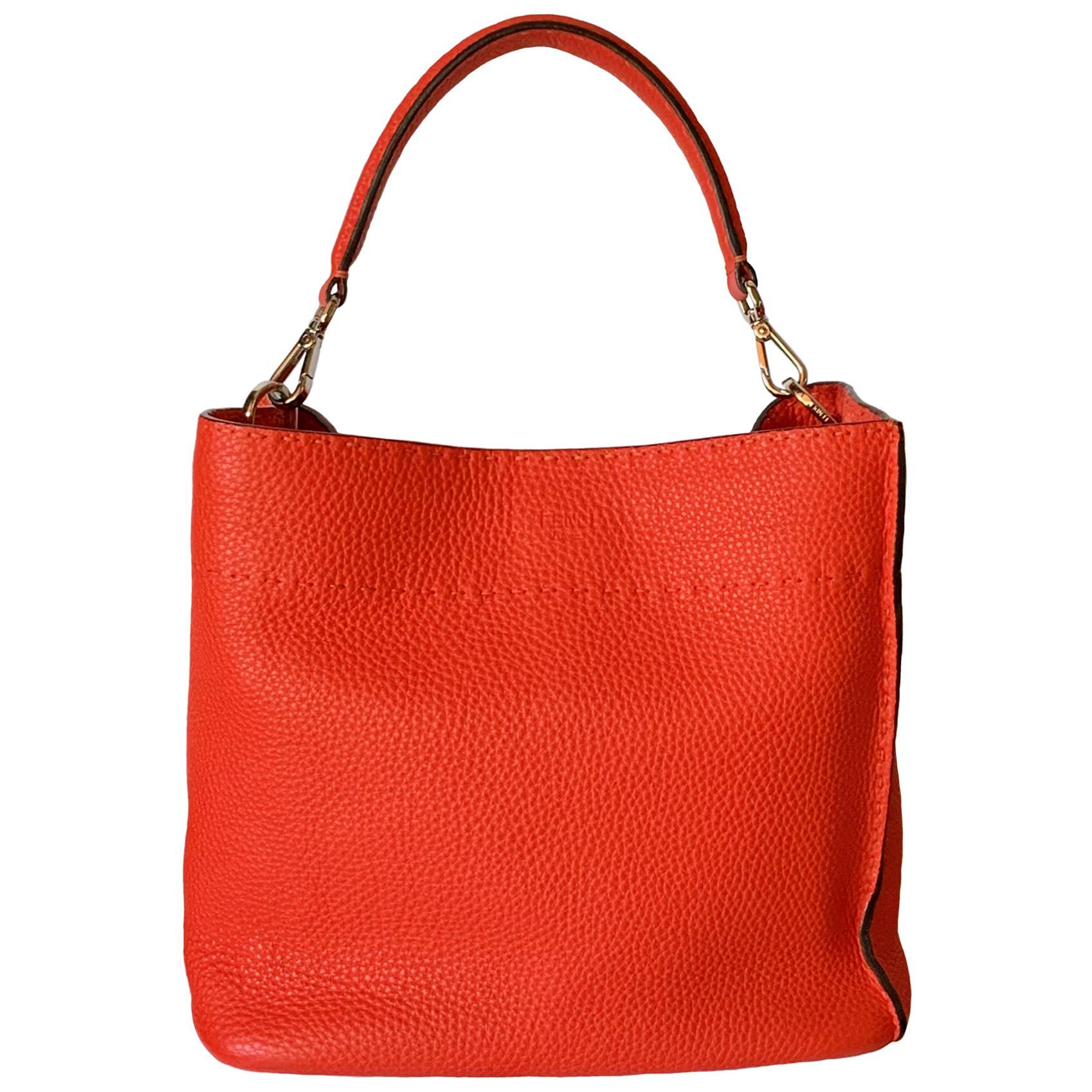 Fendi Selleria Anna Red Orange Bucket Bag