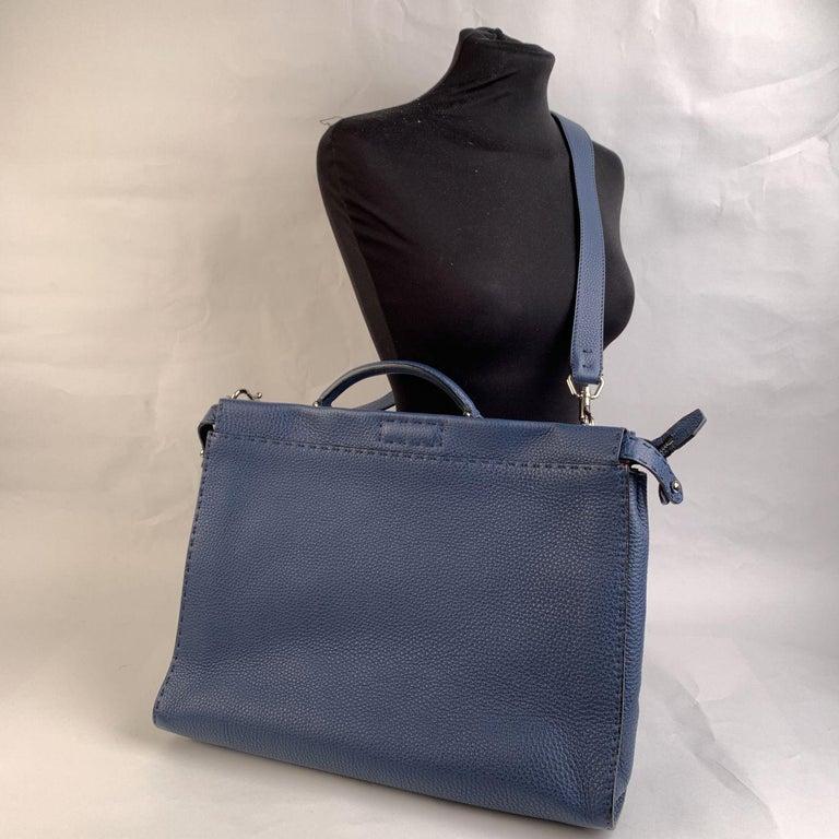 Black Fendi Selleria Blue Leather Peekaboo Iconic Medium Tote Satchel Bag