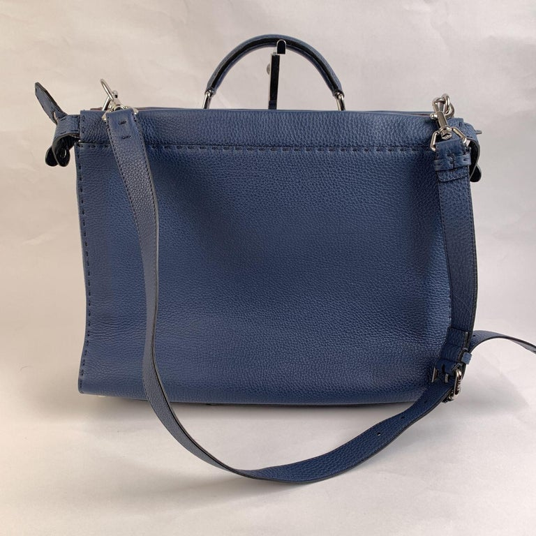 Fendi Selleria Blue Leather Peekaboo Iconic Medium Tote Satchel Bag In Excellent Condition In Rome, Rome
