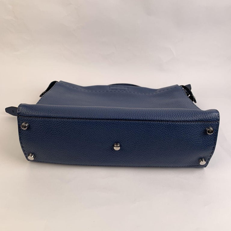 Women's Fendi Selleria Blue Leather Peekaboo Iconic Medium Tote Satchel Bag