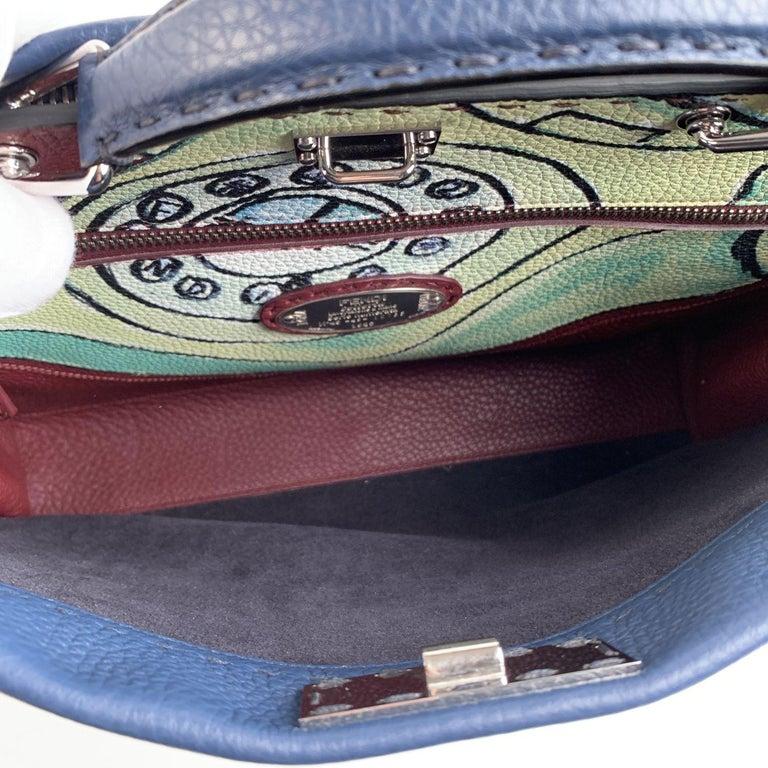 Fendi Selleria Blue Leather Peekaboo Iconic Medium Tote Satchel Bag 1